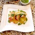 Rezept: Lachs auf Kartoffelbett aus dem Ofen mit Schnittlauchvinaigrette