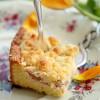 Rezept: Rhabarber-Vanilla-Cheesecake auf Quark-Öl-Teig mit Mandelstreuseln