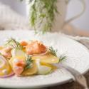 Rezept: Kartoffel-Gurken-Salat mit Meerettichdressing und Stremellachs