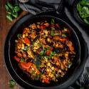 Reis-Pfanne mit Hackfleisch und Gemüse