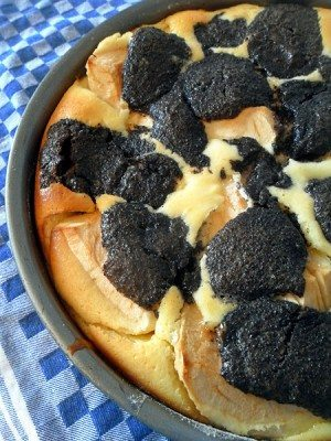 Rezept: Käsekuchen ohne Boden mit Mohn und Apfel