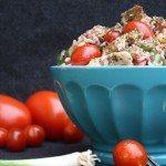 Reissalat mit Hähnchen und Tomaten