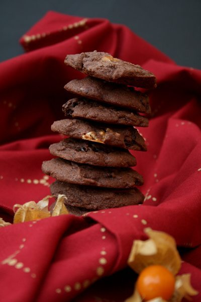www.kochmaedchen.de Schoko-Snickers-Cookies mit Physalis