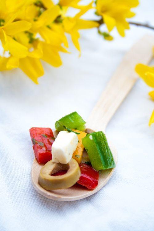 Rezept Bunter Paprikasalat mit Fetakäse grünen Oliven