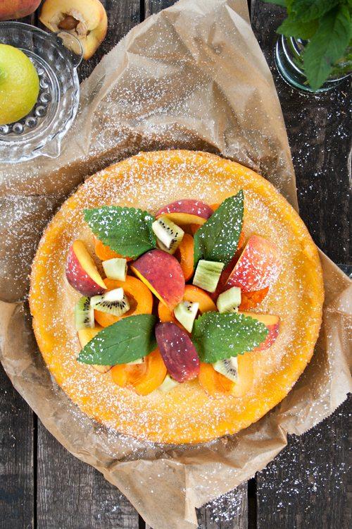 Tarte mit Pfirsichen und Zitrone