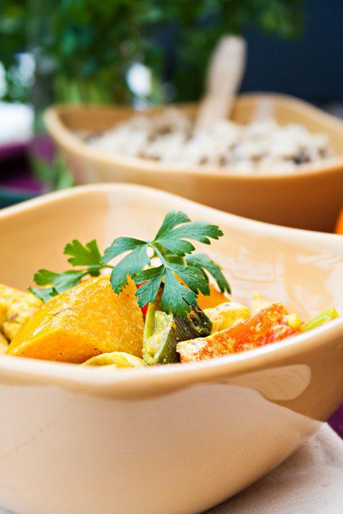 Curry mit Hähnchen und Permison