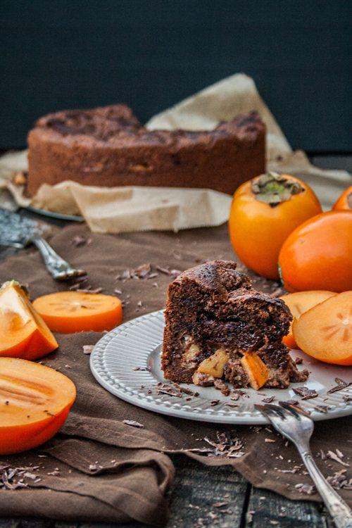 Schoko-Brownie-Streusel-Kuchen mit Kaki