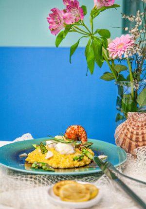 Eventbericht mit Rezept: Kenwood Küchenparty Nummer 5 mit unserem Rezept für Safranrisotto mit grünem Spargel, Riesengarnelen und Skrei