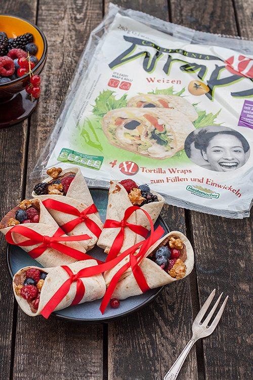 süße Wraps mit Schokofrischkäse und Früchten
