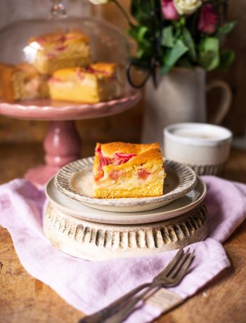 Rhabarber-Kuchen-Blech mit Pudding und saftigem Rührteig
