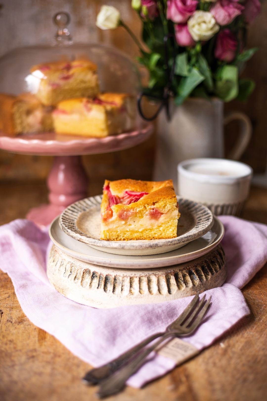 Rhabarber-Kuchen-Blech mit Pudding - Kochmädchen Foodblog